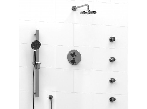 Riobel -double coaxial system with hand shower rail, 4 body jets and shower head - KIT#446PXTM