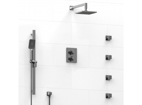 Riobel -double coaxial system with hand shower rail, 4 body jets and shower head - KIT#446PXTQ