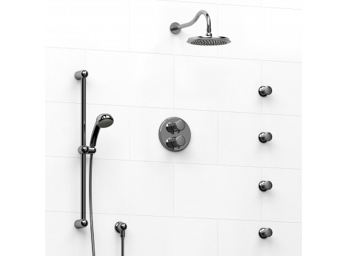 Riobel -double coaxial system with hand shower rail, 4 body jets and shower head - KIT#446RT