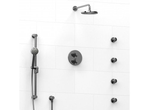 Riobel -double coaxial system with hand shower rail, 4 body jets and shower head - KIT#446RUTM