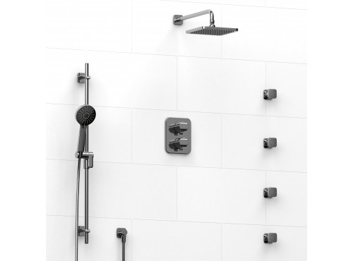 Riobel -double coaxial system with hand shower rail, 4 body jets and shower head - KIT#446SA