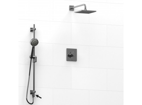 Riobel -½'' coaxial 2-way system, hand shower rail and shower head - KIT#6323PATQ+
