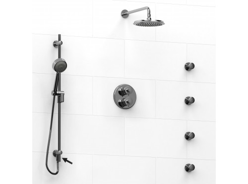 Riobel -Type T/Pdouble coaxial system shower rail, 4 body jets and shower head - KIT#6446ATOP