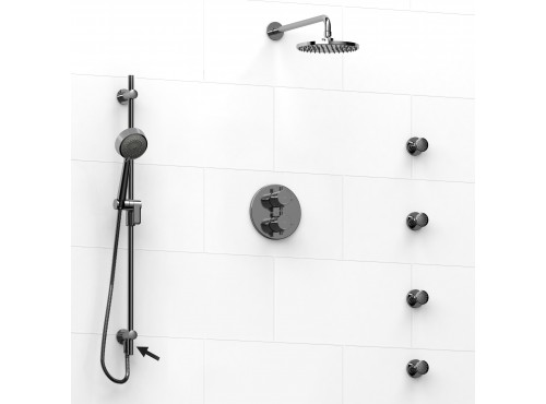 Riobel -Type T/Pdouble coaxial system shower rail, 4 body jets and shower head - KIT#6446PATM+