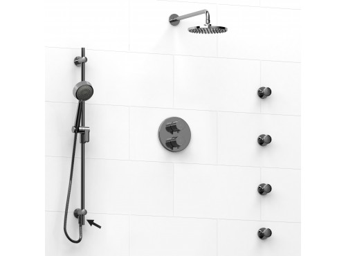 Riobel -Type T/Pdouble coaxial system shower rail, 4 body jets and shower head - KIT#6446PATM