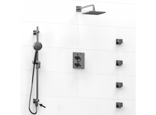 Riobel -Type T/Pdouble coaxial system shower rail, 4 body jets and shower head - KIT#6446PATQ+