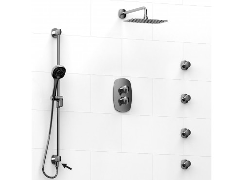 Riobel -Type T/Pdouble coaxial system shower rail, 4 body jets and shower head - KIT#6446VY