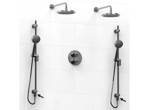 Riobel -double coaxial system with 2 hand shower rails built-in elbow supply and 2 shower heads - KIT#6546ATOP