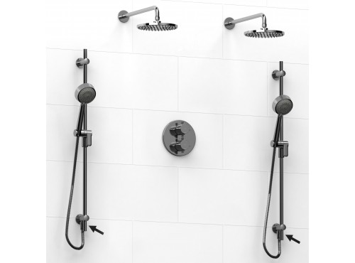 Riobel -double coaxial system with 2 hand shower rails built-in elbow supply and 2 shower heads - KIT#6546PATM+