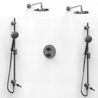 Riobel -double coaxial system with 2 hand shower rails built-in elbow supply and 2 shower heads - KIT#6546PATM