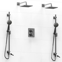 Riobel -double coaxial system with 2 hand shower rails built-in elbow supply and 2 shower heads - KIT#6546PATQ+