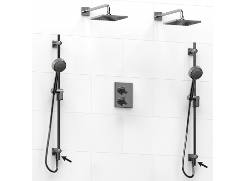 Riobel -double coaxial system with 2 hand shower rails built-in elbow supply and 2 shower heads - KIT#6546PATQ