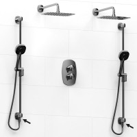 Riobel -double coaxial system with 2 hand shower rails built-in elbow supply and 2 shower heads - KIT#6546VY