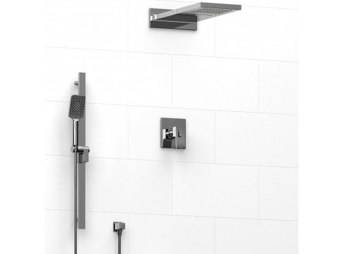Riobel -½'' coaxial 3-way system with hand shower rail and rain and cascade shower head - KIT#7045