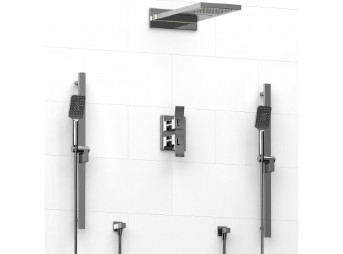 "Riobel -Double ¾"" double coaxial system with 2 hand shower rails and rain/fall shower head - KIT#7483"