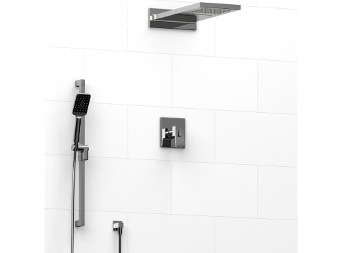 Riobel -½'' coaxial 3-way system with hand shower rail and rain and cascade shower head - KIT#8045