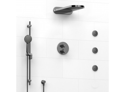 Riobel -Type T/Pdouble coaxial system with hand shower rail, 3 body jets and cascade shower heads - KIT#8146