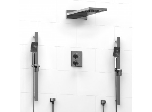 Riobel -Type T/Pdouble coaxial system with 2 hand shower rail and cascade shower heads - KIT#8246