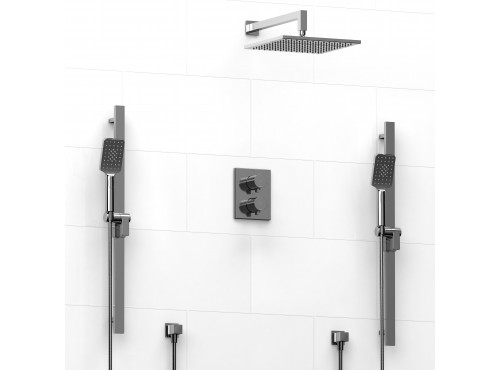 Riobel -double coaxial system with 2 hand shower rail and shower head - KIT#8546