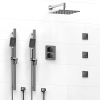 Riobel -double coaxial system with 2 hand shower rail, 3 body jets and shower head - KIT#8746