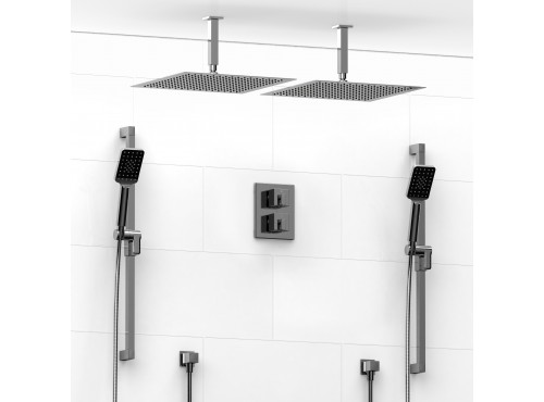 Riobel -double coaxial system with 2 hand shower rails and 2 shower heads - KIT#8846