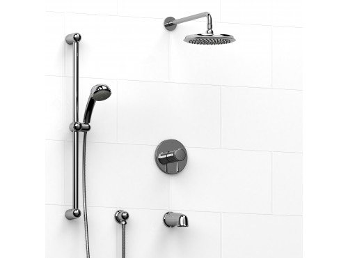 Riobel -½'' coaxial 3-way system with hand shower rail, shower head and spout - KIT#1345FI