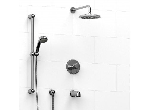 Riobel -½'' coaxial 3-way system with hand shower rail, shower head and spout - KIT#1345PR