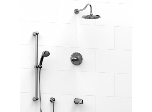 Riobel -½'' coaxial 3-way system with hand shower rail, shower head and spout - KIT#1345RO