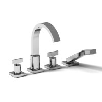 Riobel -4-piece deck-mount tub filler with hand shower - PFTQ12TC Chrome