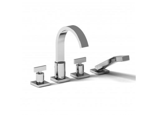 Riobel -4-piece deck-mount tub filler with hand shower - PFTQ12TC Chrome