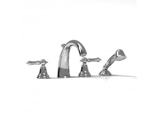 Riobel -4-piece deck-mount tub filler with hand shower - PR12L