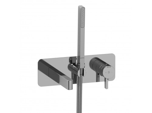 Riobel -Wall-mount coaxial tub filler with hand shower - PX21C Chrome