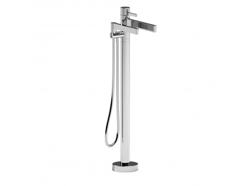 Riobel -2-way Type T (thermostatic) coaxial floor-mount tub filler with hand shower - PX39C Chrome