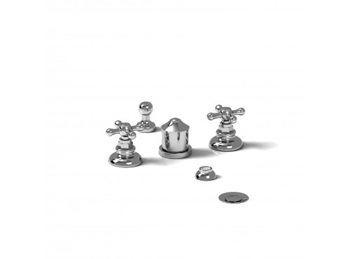 Riobel -4-piece bidet faucet with integrated vacuum breaker - RO09+
