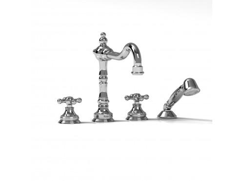 Riobel -4-piece deck-mount tub filler with hand shower - RT12+