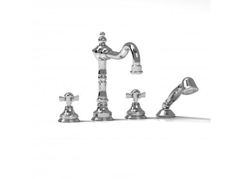 Riobel -4-piece deck-mount tub filler with hand shower - RT12X