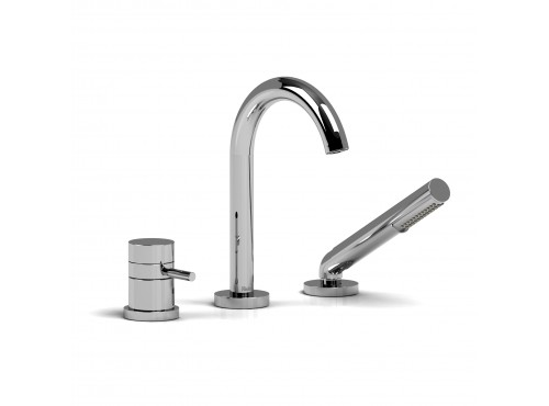Riobel -2-way 3-piece Type T (thermostatic) coaxial deck-mount tub filler with hand shower - RU19