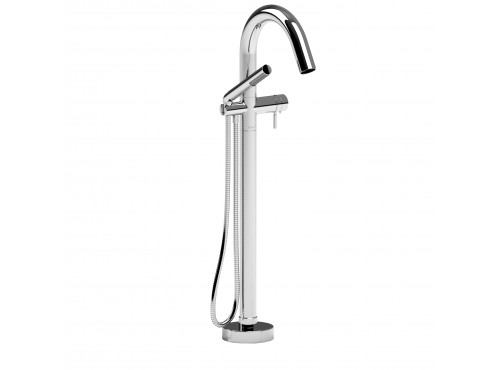 Riobel -2-way Type T (thermostatic) coaxial floor-mount tub filler with hand shower - TRU39