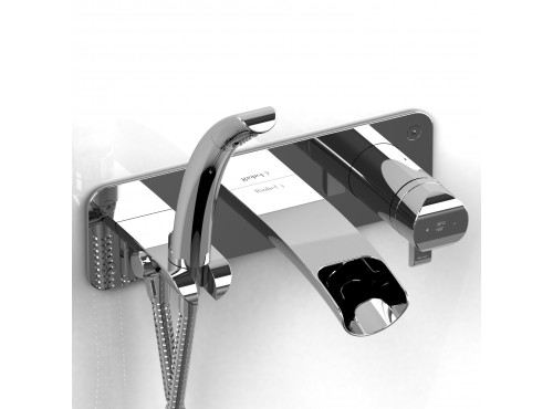 Riobel -Wall-mount coaxial open spout tub filler with hand shower - SA07