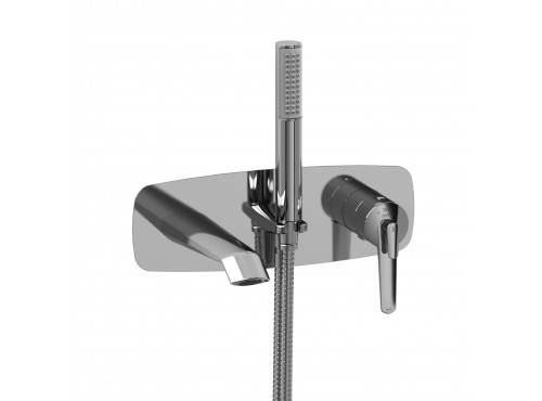 Riobel -Wall-mount coaxial tub filler with hand shower - VY21C Chrome