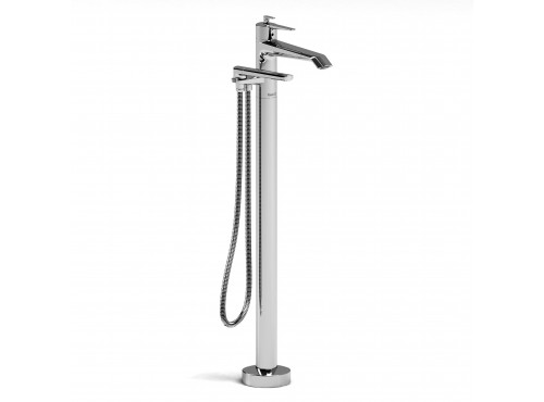 Riobel -2-way Type T (thermostatic) coaxial floor-mount tub filler with hand shower trim - TVY39C Chrome