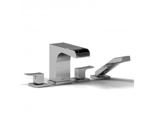 Riobel -4-piece deck-mount open spout tub filler with hand shower - ZOOP12