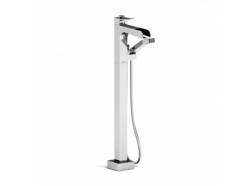 Riobel -Floor-mount coaxial open spout tub filler w/ hand shower - ZOOP37