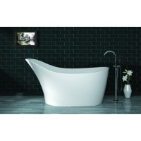 Freestanding poly marble bathtub