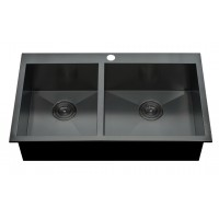 Double metal sink for kitchen 1 hole